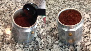 Filling Funnel with Ground Coffee